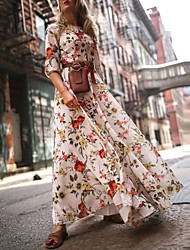 cheap -Women's Swing Dress Maxi long Dress - 3/4 Length Sleeve Floral Flower Print Spring Summer Casual Hot Holiday vacation dresses Lantern Sleeve Ruffle White S M L XL XXL