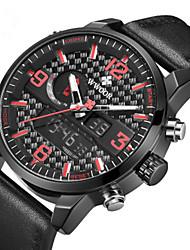 Недорогие -WWOOR Муж. Нарядные часы Японский Японский кварц Натуральная кожа Черный 30 m Защита от влаги Календарь Секундомер Аналого-цифровые На каждый день На открытом воздухе - Белый Синий Темно-красный