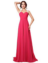 cheap -A-Line Beautiful Back Sexy Wedding Guest Formal Evening Dress Queen Anne Sleeveless Sweep / Brush Train Chiffon with Ruched Appliques 2020