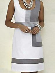 Недорогие -Жен. Классический А-силуэт Платье - Контрастных цветов На бретелях Выше колена