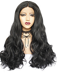 cheap -Synthetic Wig / Synthetic Lace Front Wig Body Wave Style Middle Part Lace Front Wig Black Black#1B Synthetic Hair 26inch Women's Odor Free / Soft / Easy to Carry Black Wig Long Natural Wigs