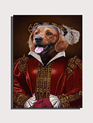 cheap -E-HOME Stretched Canvas Art Cute Animal Series - Red Dressed Aristocratic Dog  Decoration Painting  One Pcs