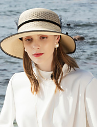 cheap -Natural Fiber Straw Hats with Floral 1pc Casual / Daily Wear Headpiece