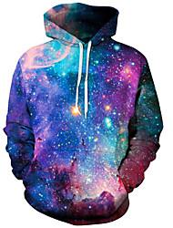 abordables -Pull à Capuche & Sweat-shirt Homme, Galaxie / 3D / Graphique Imprimé Basique / Exagéré Violet