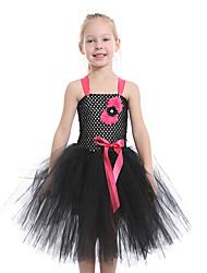 cheap -Kids Toddler Girls' Active Cute Black Floral Mesh Patchwork Sleeveless Knee-length Dress Black