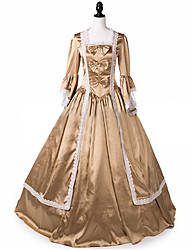 cheap -Princess Maria Antonietta Floral Style Rococo Victorian Renaissance Dress Party Costume Masquerade Women's Lace Costume Golden yellow Vintage Cosplay Christmas Halloween Party / Evening 3/4 Length