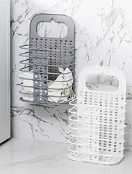 cheap -Wall-mounted Collapsible Hamper Plastic Wall Storage Basket Laundry Basket Dirty Clothes Storage