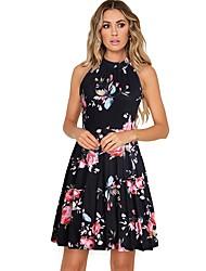 cheap -Women's Royal Blue White Dress A Line Floral Halter Neck S M