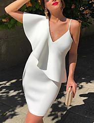 cheap -Women's Cocktail Party Homecoming Shirt Dress White S M L XL