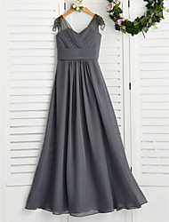 cheap -A-Line V Neck Maxi Chiffon Junior Bridesmaid Dress with Ruching