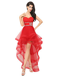 cheap -A-Line Sparkle Red Party Wear Prom Dress Sweetheart Neckline Sleeveless Asymmetrical Tulle with Crystals Tier 2020