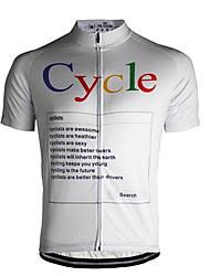 abordables -21Grams Homme Manches Courtes Maillot Velo Cyclisme Blanche Cyclisme Maillot Hauts / Top VTT Vélo tout terrain Respirable Evacuation de l'humidité Séchage rapide Des sports Térylène Vêtement Tenue