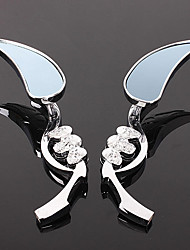 cheap -Silver Motorcycle Mirrors Rearview Mirror TearDrop Skull Blade Design
