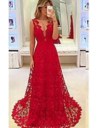 cheap -A-Line V Neck Court Train Chiffon / Lace Cut Out / Red Engagement / Formal Evening Dress with Appliques 2020