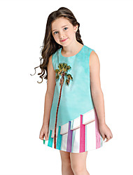 cheap -Kids Girls' Sweet Cute Trees / Leaves Sleeveless Above Knee Dress Blue / Cotton