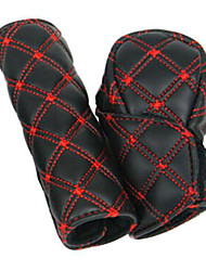cheap -2Pcs/Set Faux Leather Hand Brake Shift Knob Cover Gear Case Car Interior Decor
