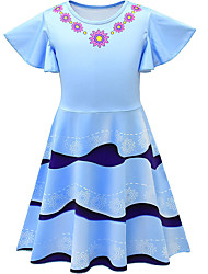 cheap -Kids Girls' Flower Cute Striped Jacquard Print Sleeveless Knee-length Dress Light Blue