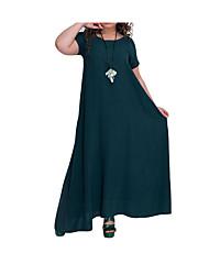 abordables -Femme Elégant Maxi Balançoire Robe Couleur Pleine Vert Marine Vin XXXXL XXXXXL XXXXXXL Manches Courtes
