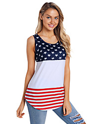 cheap -Adults' Women's Cosplay American Flag Vest T-shirt For Halloween Daily Wear Spandex Polyster Independence Day T-shirt