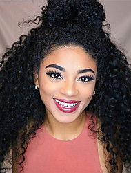 cheap -Remy Human Hair Full Lace Lace Front Wig With Ponytail style Brazilian Hair Afro Curly Black Wig 130% 150% 180% Density Odor Free Women Natural Comfortable For Black Women Women's Medium Length Human