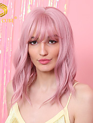 cheap -Synthetic Wig kinky Straight Natural Wave Bob Asymmetrical Neat Bang Wig Pink Medium Length Pink Synthetic Hair 12 inch Women's Synthetic Lovely Natural Hairline Pink HAIR CUBE / African American Wig