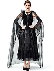 cheap -Witch Vampire Uniforms Cosplay Costume Masquerade Adults' Women's Halloween Christmas Halloween Carnival Festival / Holiday Tulle Satin Black Carnival Costumes Solid Color Holiday Halloween