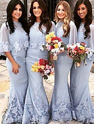 cheap -Mermaid / Trumpet Jewel Neck Sweep / Brush Train Lace Bridesmaid Dress with Appliques / Lace