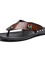 cheap -Men's Comfort Shoes PU Summer Slippers & Flip-Flops Black / Brown