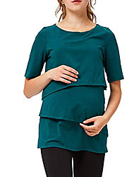 cheap -Women's Casual Maternity T-shirt - Solid Colored Green