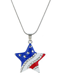 cheap -Women's Cubic Zirconia Pendant Necklace Classic American flag Star Flag Patriotic Jewelry European Trendy Sweet Fashion Chrome Silver 40+5 cm Necklace Jewelry 1pc For Daily Street Holiday Festival