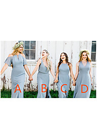 cheap -A-Line V Neck / Halter Neck Floor Length Chiffon Bridesmaid Dress with Split Front