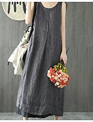 cheap -Women's Basic Maxi A Line Dress - Striped Patchwork Strap Black Blue S M L XL