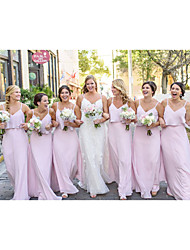 cheap -A-Line Spaghetti Strap Floor Length Chiffon Bridesmaid Dress with Ruffles