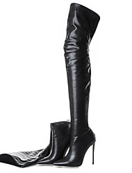 cheap -Women's Heels Party Heels Stiletto Heel Pointed Toe Faux Leather Over The Knee Boots Classic / British Spring &  Fall / Fall & Winter Black / Black / White / Party & Evening / Daily / Party & Evening