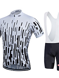 cheap -FUALRNY® Men's Short Sleeve Cycling Jersey with Bib Shorts White Black Stripes Bike Moisture Wicking Quick Dry Sports Stripes Mountain Bike MTB Road Bike Cycling Clothing Apparel / Stretchy