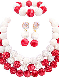 cheap -Women's Necklace Earrings Bracelet Beads Lucky Elegant Africa Imitation Pearl Earrings Jewelry Hot Pink / Lake Blue / Royal Blue For Wedding Party Gift Daily Festival 1 set