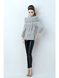 abordables -Yiwu pto_04by 6 minutes 30cm habiller le coeur de poupée Yiwa fr vêtements de tissu de pêche de mannequin long pull long (à l'exclusion des pantalons) blanc