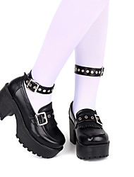 cheap -Women's Lolita Shoes Punk Wedge Heel Shoes Solid Colored 8 cm Black Ink Blue Red Fauxfur Halloween Costumes