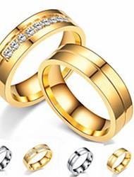 Недорогие -Для пары Кольца для пар Кольцо 1шт Золотой Серебряный Нержавеющая сталь Титановая сталь Круглый Классический Мода Подарок Повседневные Бижутерия Cool
