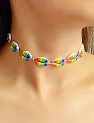 cheap -Women's Beaded Necklace Braided Rainbow Shell Bohemian Holiday Boho Chrome Red / Blue Blue Light Green 64.5 cm Necklace Jewelry 1pc For Daily Holiday Festival