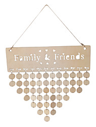 cheap -Wooden Heart Shaped Family & Friends Hollow Calendar Board Reminder
