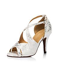 cheap -Women's Dance Shoes PU Latin Shoes Buckle Heel Thick Heel Customizable White