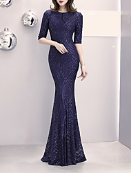cheap -Mermaid / Trumpet Elegant & Luxurious Sexy Formal Evening Dress Jewel Neck Half Sleeve Sweep / Brush Train Sequined with Sequin 2021