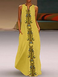 cheap -Women's Street chic Elegant A Line Swing Dress - Geometric Cut Out Print White Blushing Pink Yellow XXXL XXXXL XXXXXL