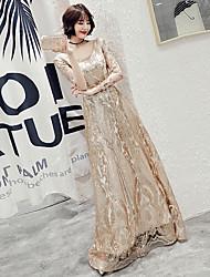 cheap -A-Line Scoop Neck Floor Length Lace Sparkle & Shine / Elegant Formal Evening Dress 2020 with Sash / Ribbon