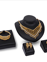 cheap -Women's Cubic Zirconia Bridal Jewelry Sets Geometrical Heart Classic Gold Plated Earrings Jewelry Gold For Wedding Party 1 set