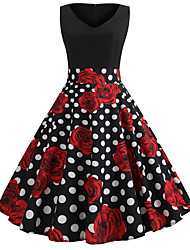 cheap -Audrey Hepburn Country Girl Polka Dots Retro Vintage 1950s Rockabilly Dress Masquerade Women's Costume Red+Black Vintage Cosplay School Office Festival Sleeveless Medium Length A-Line
