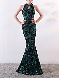 cheap -Mermaid / Trumpet Halter Neck Sweep / Brush Train Sequined Formal Evening Dress with Sequin by LAN TING Express