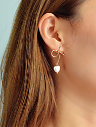cheap -Women's Stud Earrings Geometrical Bowknot Unique Design Trendy Korean Elegant Imitation Pearl Earrings Jewelry Gold For Daily Work 1 Pair
