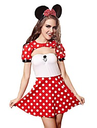 cheap -Women's Backless Sexy Chemises & Gowns / Uniforms & Cheongsams / Suits Nightwear Polka Dot Red M L / Crew Neck